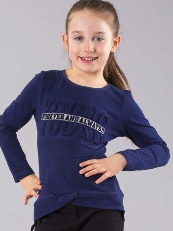 Granatowa bluzka dziewczęca z wypukłym napisem