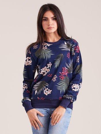Granatowa damska bluza z nadrukiem