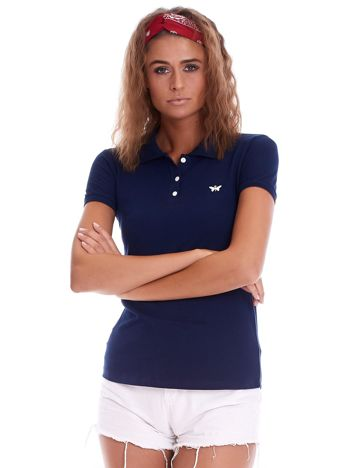 Granatowa damska koszulka polo