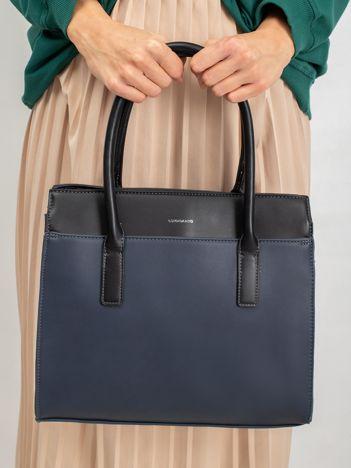 Granatowa damska torebka z odpinanym paskiem