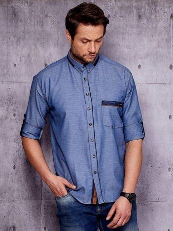 Granatowa denimowa koszula męska z zamszowymi wstawkami