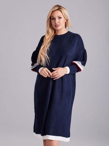 Granatowa dzianinowa sukienka PLUS SIZE