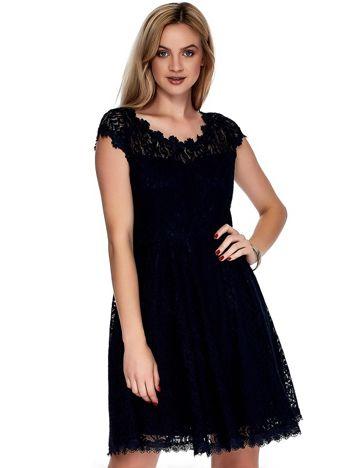 Granatowa koronkowa sukienka damska