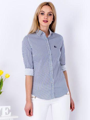 Granatowa koszula damska w paski