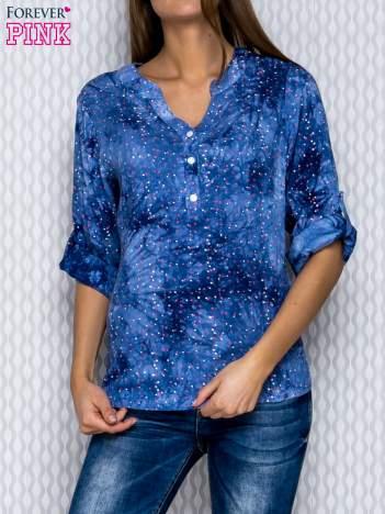 Granatowa koszula dekatyzowana w kwadraciki