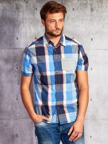 Granatowa koszula męska motyw kratki FUNK N SOUL