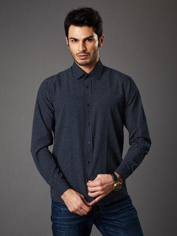 Granatowa koszula męska o klasycznym kroju we wzory
