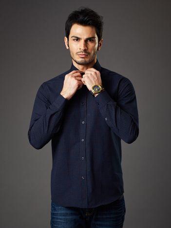 Granatowa koszula męska w kropki regular fit