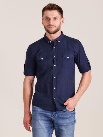 Granatowa koszula męska z bawełny