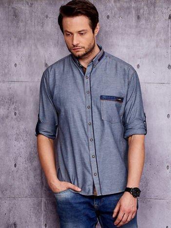 Granatowa koszula męska z kieszenią PLUS SIZE