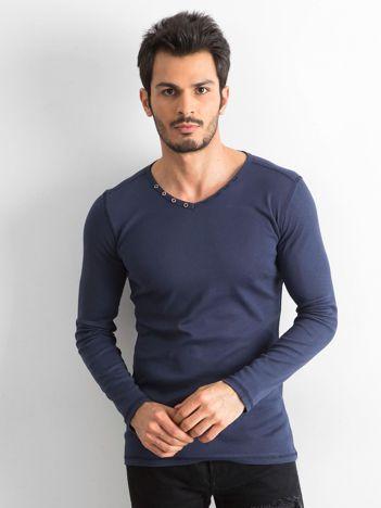 Granatowa koszulka męska z długim rękawem