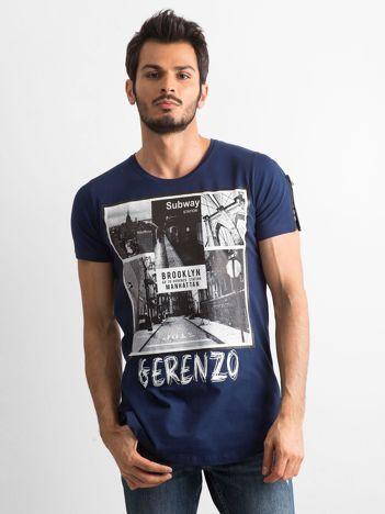 Granatowa koszulka męska z nadrukiem