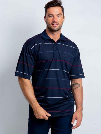 Granatowa koszulka polo męska plus size Various
