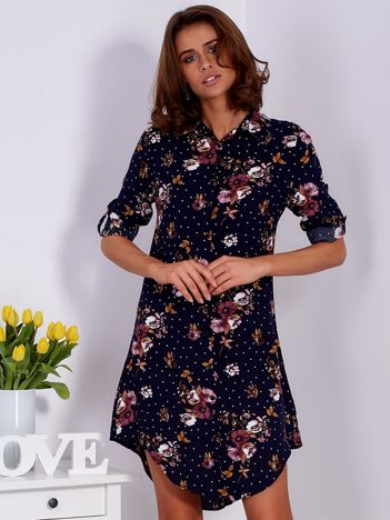 Granatowa kwiatowa sukienka z kołnierzykiem