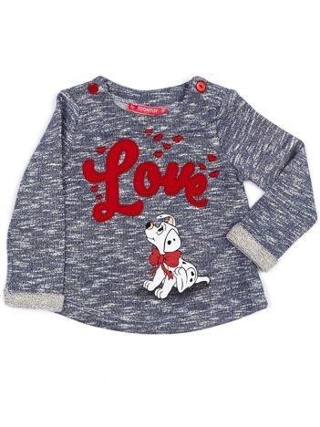 Granatowa melanżowa bluza dziewczęca z napisem LOVE i psem