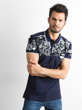 Granatowa męska koszulka polo we wzory