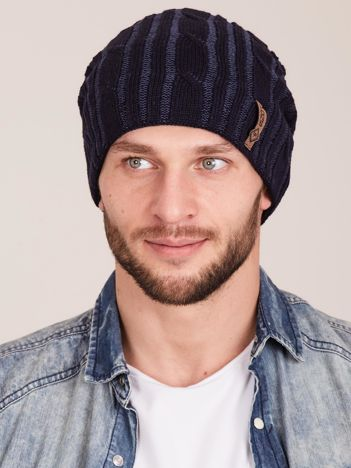 Granatowa męska zimowa czapka w warkocze