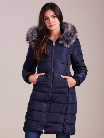 Granatowa pikowana damska kurtka zimowa