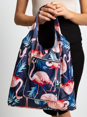 Granatowa składana torba we flamingi