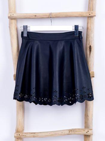 Granatowa spódnica dla dziewczynki z ekoskóry