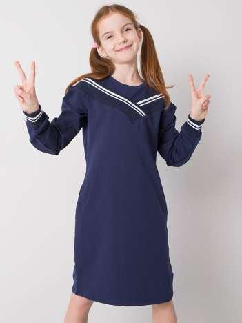 Granatowa sukienka dresowa dla dziewczynki