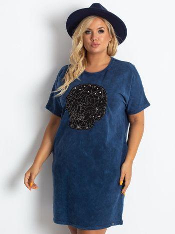 Granatowa sukienka plus size Brillance