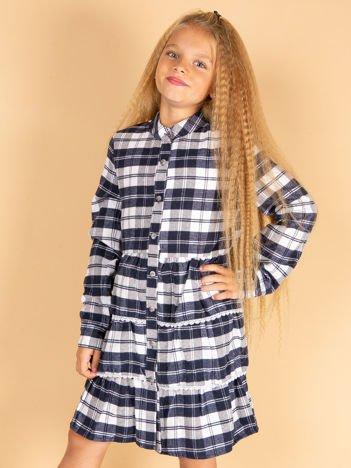Granatowa sukienka w kratę dla dziewczynki z warstwowymi falbanami