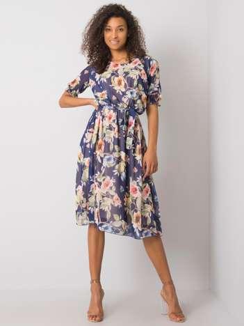 Granatowa sukienka w kwiaty Maelle