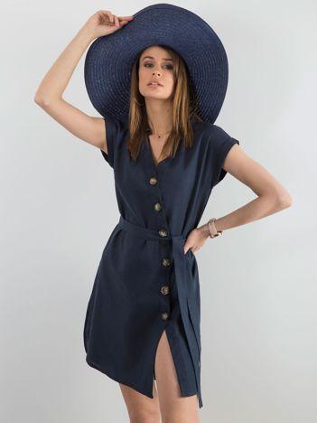 Granatowa sukienka z asymetrycznym zapięciem