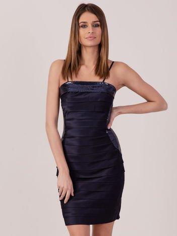 Granatowa sukienka z cekinowymi modułami