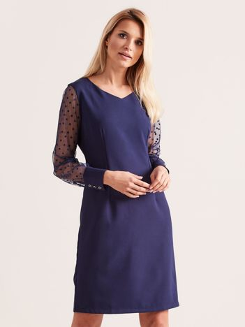 Granatowa sukienka z mankietami