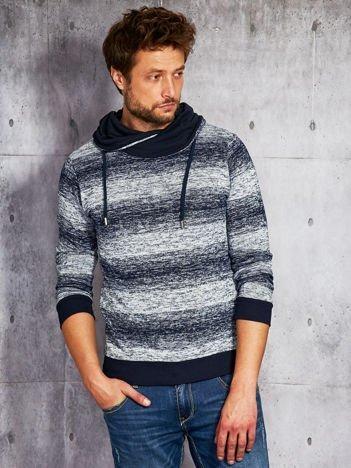 Granatowa swetrowa bluza męska z kapturem