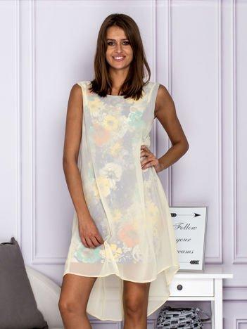 Granatowa warstwowa sukienka letnia z motywem kwiatowym