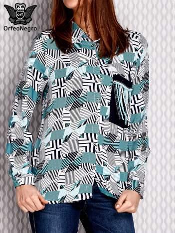 Granatowa wzorzysta koszula z aplikacją z koralików