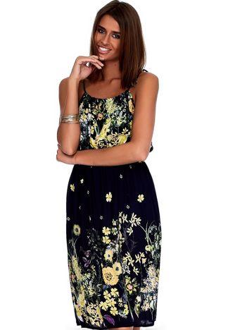 Granatowa zwiewna sukienka w kolorowe kwiaty