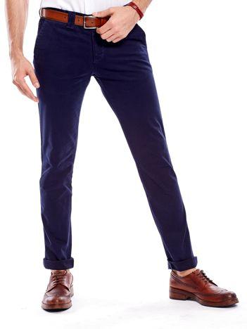 Granatowe bawełniane spodnie męskie chinosy