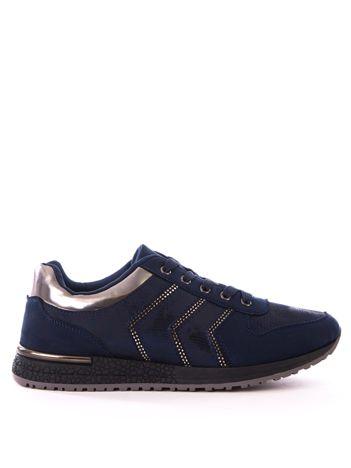 Granatowe buty sportowe z efektem rybiej łuski