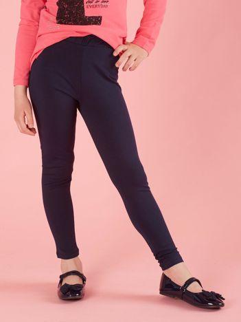 Granatowe dziewczęce legginsy basic