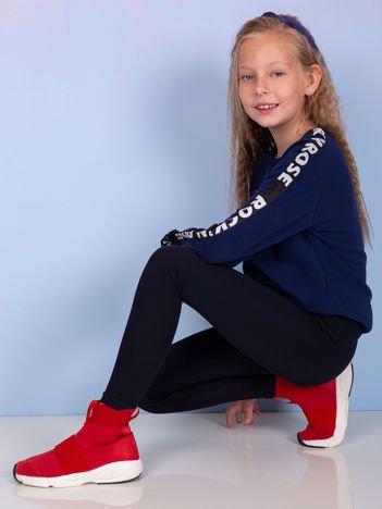 Granatowe gładkie legginsy dla dziewczynki