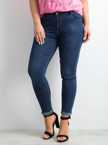 Granatowe jeansy rurki PLUS SIZE