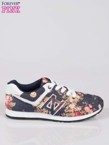 Granatowe kwiatowe miejskie buty sportowe Blushy