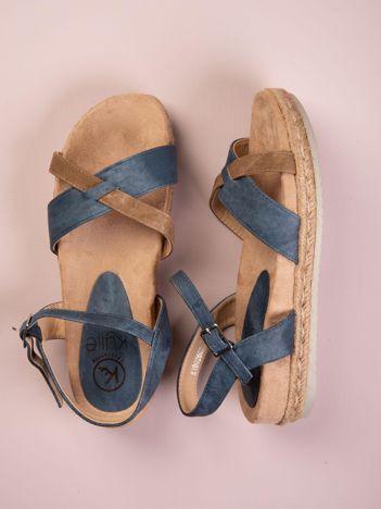 Granatowe płaskie sandały Kylie z szarym paskiem