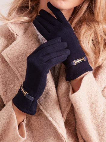 Granatowe rękawiczki damskie z klamerką
