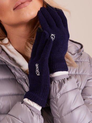 Granatowe rękawiczki do ekranów dotykowych