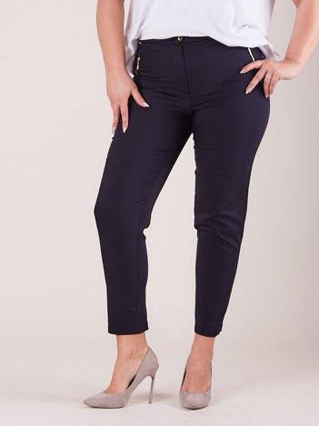 Granatowe spodnie z suwakami PLUS SIZE