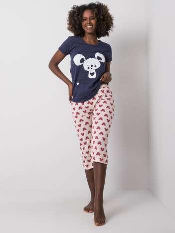 Granatowo-beżowa piżama damska bawełniana