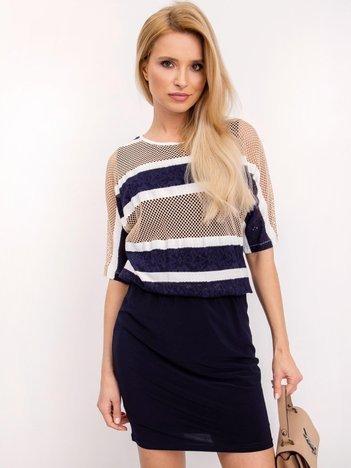 Granatowo-beżowa sukienka Parker