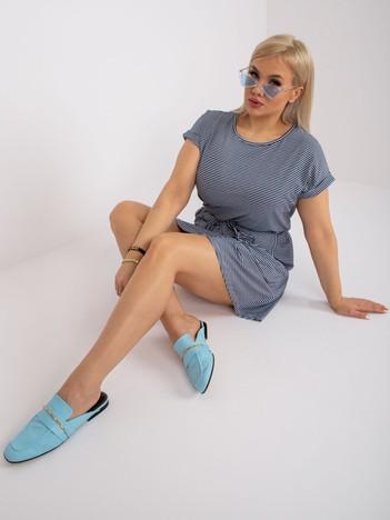 Granatowo-biała sukienka plus size Sariyah