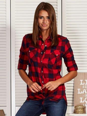 Granatowo-czerwona koszula w kratę z kieszonkami