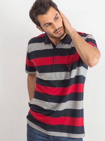 Granatowo-czerwona męska koszulka polo Scouring
